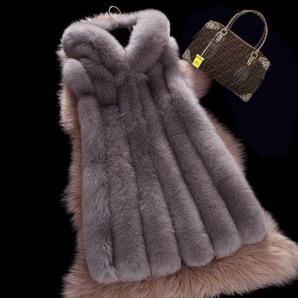 Winter Ladies Thick Warm Faux Fox Fur Vest Women Fur Trim Hood Coat Women Outerwear Vest Jacket Long Parka 3XL