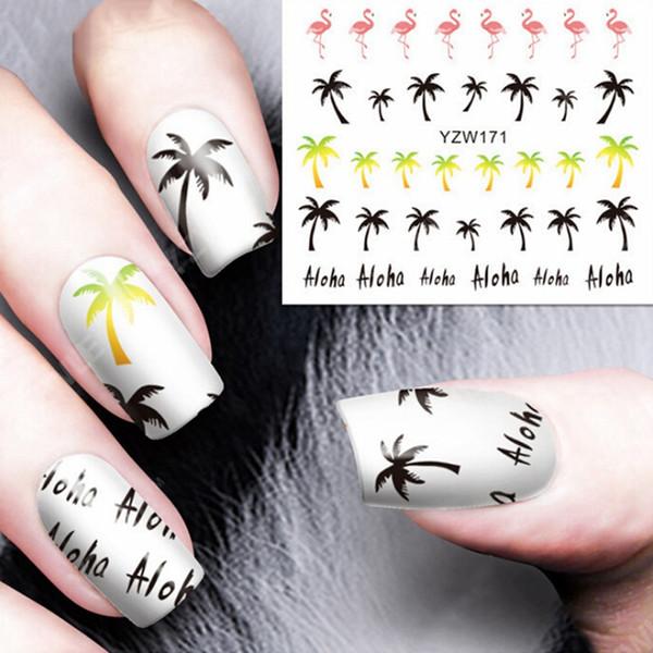 3 PC Noix De Coco Finger Wraps Outils Palm Flamingo Eau Transfert Ongles Autocollants Manucure Nail Art Eau Décalques