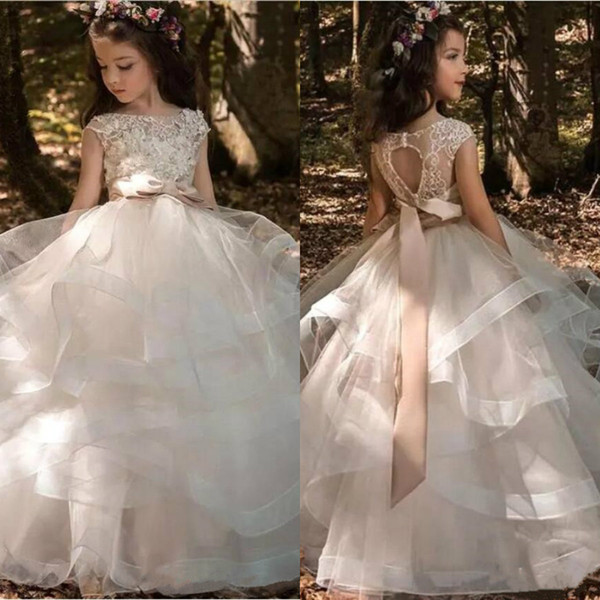 best selling 2019 Modern Flower Girls' Dresses Cap Sleeves Tulle Ruffles Skirt Lace 3D Floral Beaded Bow Sash Kids Formal Wear Hollow Back Girls' Dresses