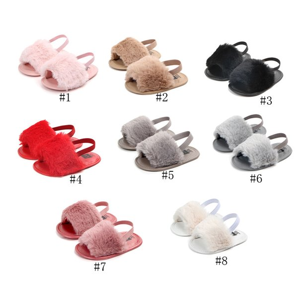 2019 new Baby Girls Fur sandals Fashion design infant Fur Slippers Warm Soft Kids home shoes children toddler solid color 09012009