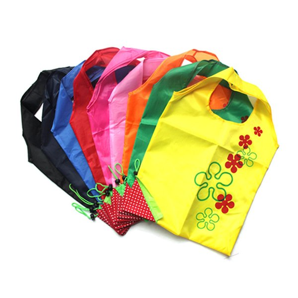 Creative Nylon Eco-Friendly Foldable Strawberry Shopping Bag Reusable Storage Handbag Colorful Strawberry Foldable Shopping Bags Totes