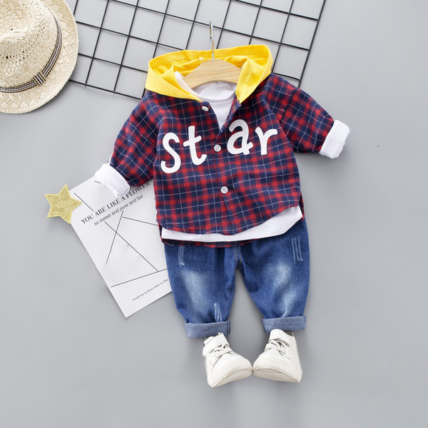 2019 Spring and Autumn Baby Boys Clothing Sets Kids 2PCS Long-sleeved Plaid Shirt+Jeans Children Baby Children Sets