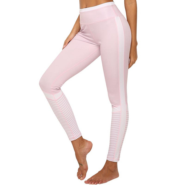NORMOV Sexy Woman Autumn Winter Stripe Pink Leggings High Waist Printing Patchwork Skinny Workout Fitness Slim Leggings