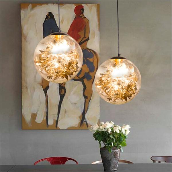 E27 Glass Ball Pendant Lights LED Golden/Silver Flower Glass Art Hanging Lamp for Restaurant Livingroom Bar Showroom