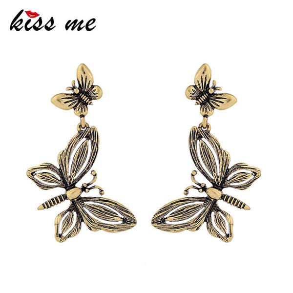 Women Butterfly Drop Earrings Antique Gold Color Alloy Vintage Earrings Fashion Jewelry Accessories