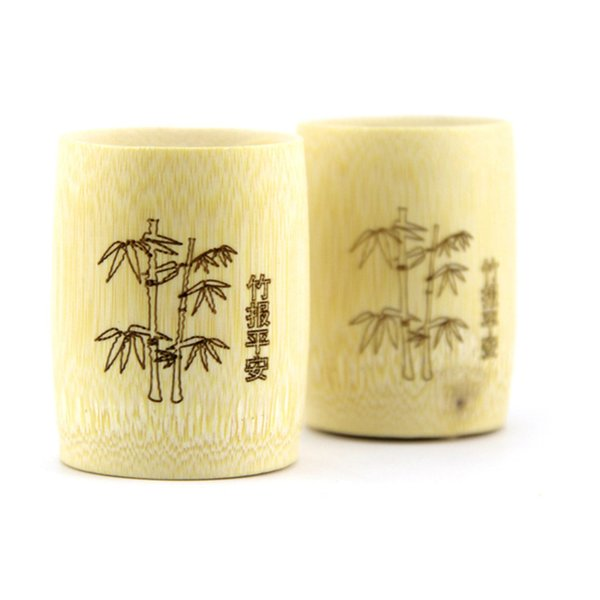 Pure natural bamboo mugs, beer mug, green green tea cup, Chinese carving cup, travel souvenirs, Retail unique wine tool