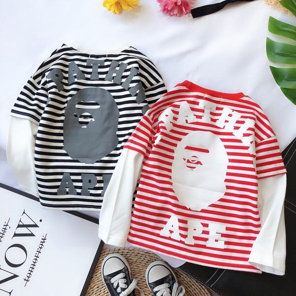 Мальчик набор детей дизайнер одежды 2019 новый раунд шеи полосатый дизайн свитер + поддельные два брюки 2pcs простой и стильный мяч мальчик костюм