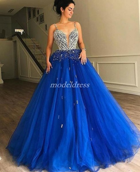 Blue Crystal Ball Gown Quinceanera Dresses 2019 Spaghetti Sweep Train Major Beading Prom Party Gowns For Sweet 16 vestidos de 15 anos