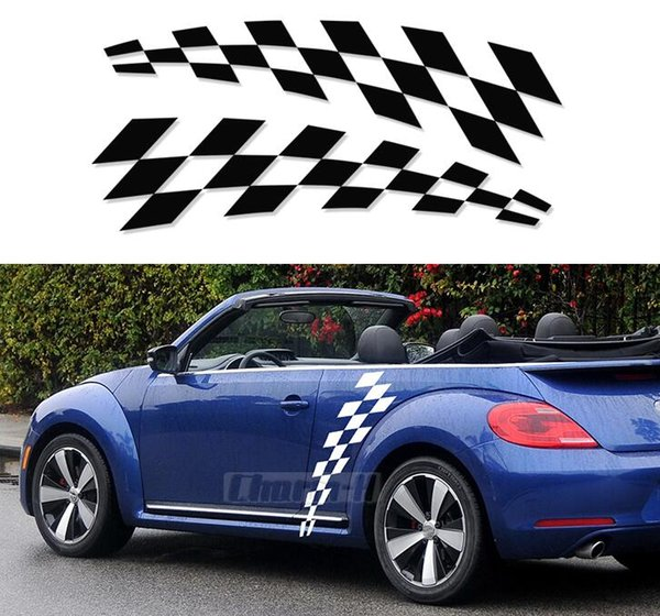 Checkered Flag VW >> 2019 Car Styling Door Side Body Vinyl Decal For Volkswagen Beetle 2011 Present Checkered Flag Checkerboard Stickers Accessories From Ldyou1990 35 18