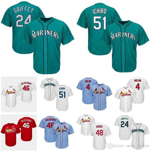24 Ken Griffey Mariners Seattle Cardinals St. Louis 51 Ichiro Suzuki 4 Yadier Molina 46 Paul Goldschmidt Camisetas de béisbol para hombre