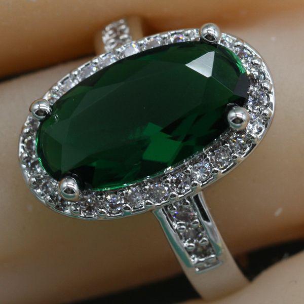 Мода Овальный Зеленый Полудрагоценный Камень Кольцо Стерлингового Серебра 925 Для Женщин Синий Розовый Коктейль Кольца С Камнем Бесплатная Шкатулка