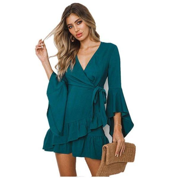 Lossk New Women's Summer Dress 2019 Sexy Bandage Dress V-neck Half Ruffle Bundle Waist Summer Mini Dress Women's Clothing