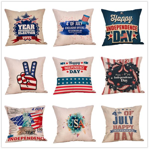 Amerikanische flagge Sterne Streifen Kissenbezug brief drucken Kissenbezug 45 * 45 cm Sofa Haarkissen Kissenbezüge Dekoration 51 arten MMA1742