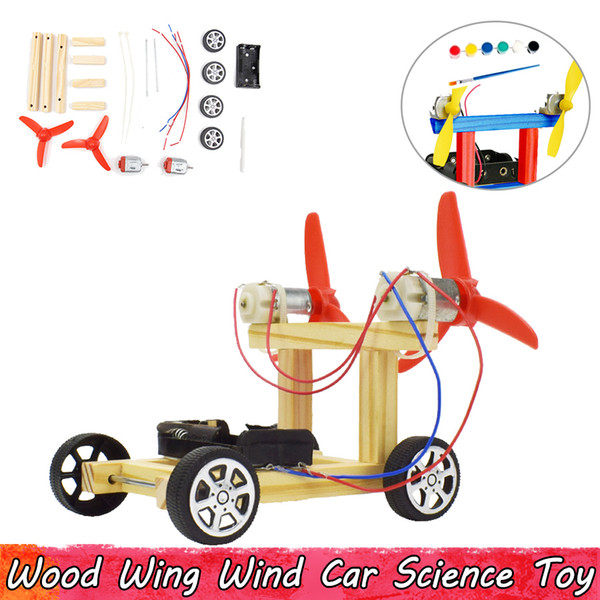 best selling Wood Wing Wind Car Experiment Science Toys DIY Assembling Educational Toys for Children Improve Brain Ability Gifts