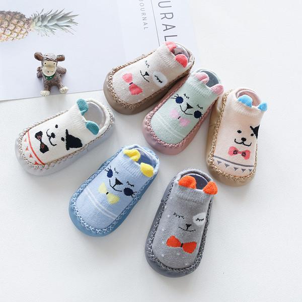 Newborn Calzini del bambino con la gomma delle suole infantile dei ragazzi delle neonate autunno-inverno dei bambini del pavimento dei calzini scarpe anti slittamento morbido Sole Sock