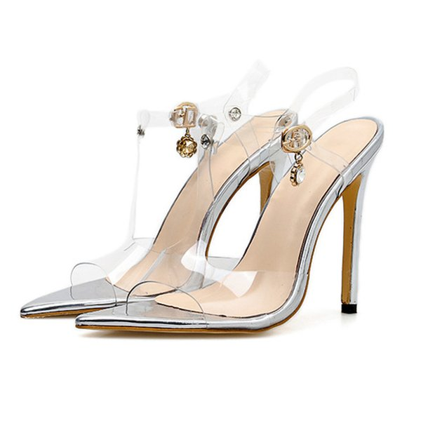 Wholesale Women's Lucite Clear Ankle Strap High Heel Sandals Dress Sandals PVC Elegant Wedding Party Shoes
