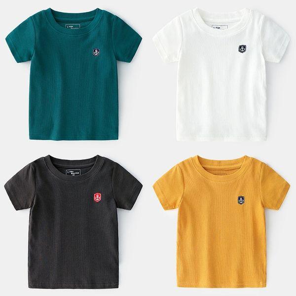 Summer Childrens Wear Boys Childrens Thread Embroidered Short Sleeve T-Shirt Round Neck Shirt Wholesale