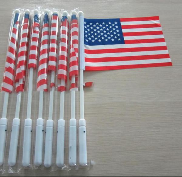 21 * 14cm Drapeau Américain Avec Light Up Flagpole 4 Juillet LED Jour de l'Indépendance USA Bannière Drapeaux LED Drapeau Partie Fournitures KKA7006