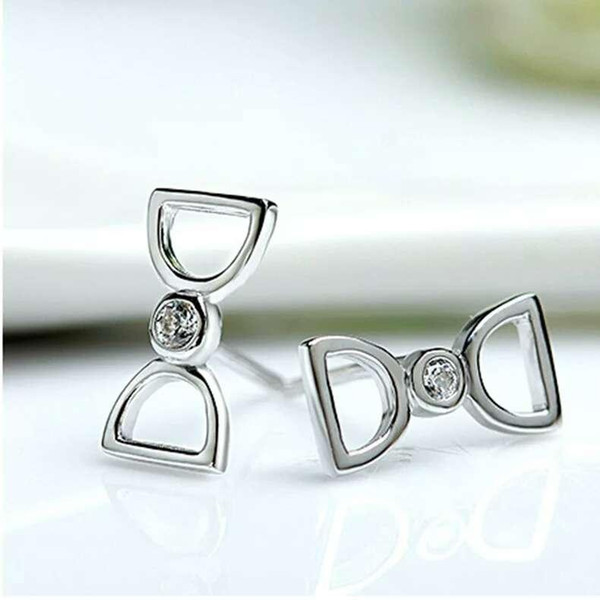 Hot 925 sterling silver items jewelry wedding stud earrings vintage shinning double D letters woman charms