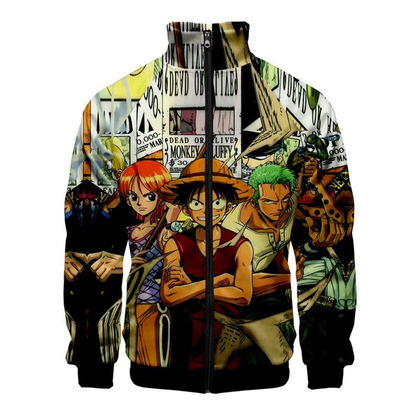 Autumn Winter One Piece 3D Stand Collar Jacket Women Men Long Sleeve Coat Japan Anime Cartoon Harajuku Streetwear Zipper Clothes