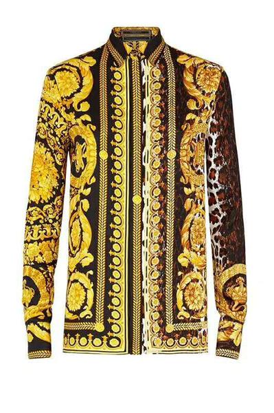 FBI İtalyan klasik stil pol Medusa Gömlek Çiçek Baskı renkler Lüks Rahat Harajuku Gömlek Uzun Kollu erkek Kafa Medusa Gömlek M-2XL