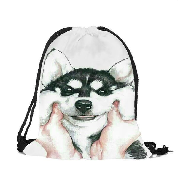 Pink Blue Animal Husky Pug Design String Backpack Women Girls Polyester Drawstring Bags Travel Shoes Dust Storage Shoulder Bag
