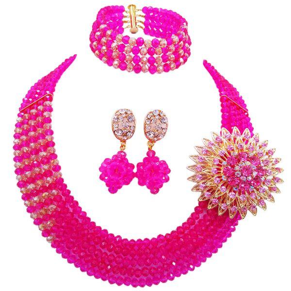 Fashion Fuchsia Pink Champange Gold AB Crystal African Jewelry Set Nigerian Beads Necklace Bracelet Earrings 5JZ05