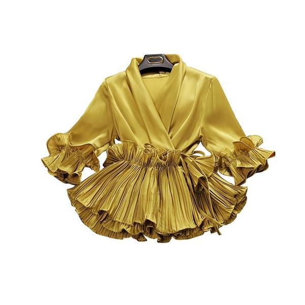 2018 primavera y verano nueva mujer escote en V profundo con volantes camisa de gasa de las mujeres tres cuartos de manga camisas blusas de las mujeres