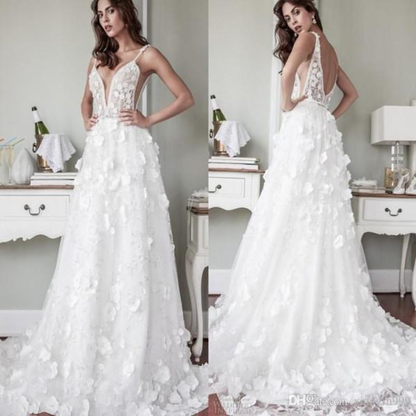 2018 Nouvelle Arrivée Robes De Mariée Avec 3D Floral Applique Cristal Perlé Robes De Mariée Sexy Profonde Col En V Dos Nu Robe De Mariée