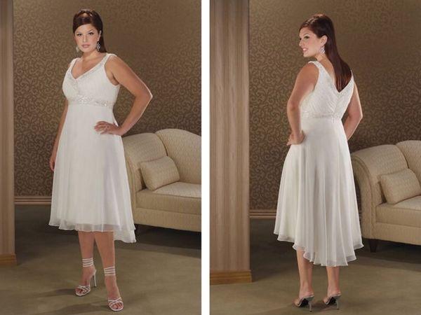 new hot sexy v-neck short Plus size 2018 chiffon cheap beading vestido de noiva After short before long Bridesmaid