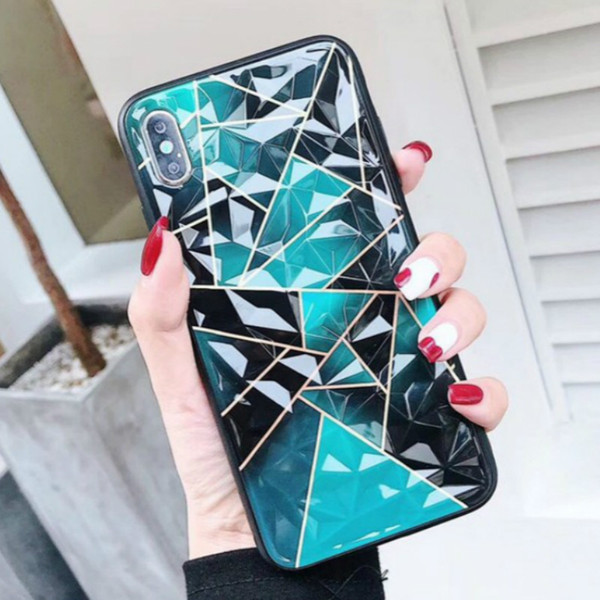 Wholesaele Fashion Luxury Phone Case Designer Phone Case for Iphone with Protective Diamond Shell for IphoneXSMAX XR XS 6 7 8 Purple Green