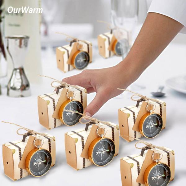 Ourwarm 50pcs Wedding Guest Souvenir Doğum Parti Dekorasyon SH190923 İçin Etiket Düğün Hediyesi ile Karft Kağıt Şeker Hediye Kutusu Pusula Favors