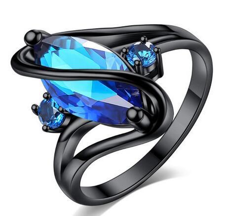 cute female blue pink purple cz stone ring fashion black color shining horse eye crystal jewelry vintage wedding rings for women