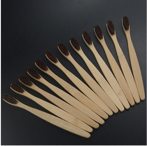 dental Care Soft Bristle Eco friendly brown bristle wooden Bamboo Toothbrush tongue scraper