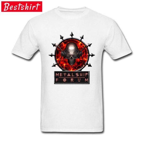 Erkekler T-Shirt Logosu Forumu Metalship Kafatası Gotik Beyaz Tshirt Macera Zaman Hip hop Tişörtleri Özelleştirilmiş Toptan Tees