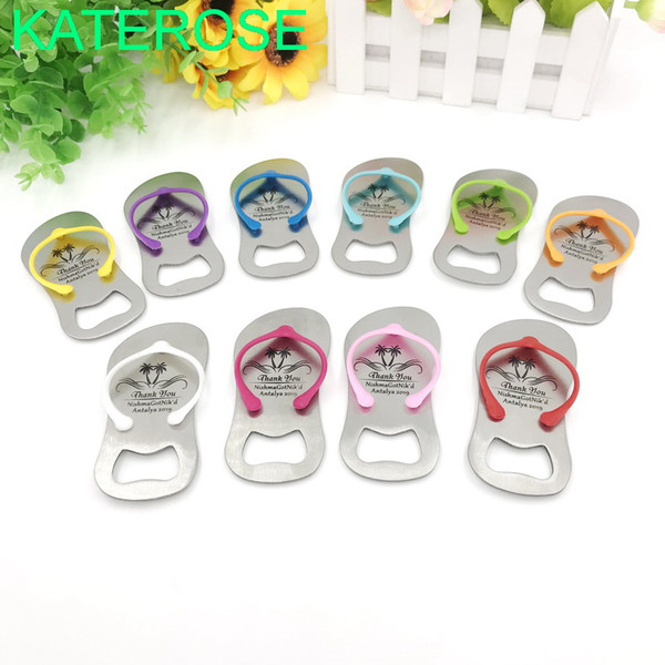 100PCS Customized Sandal Bottle Opener Wedding Flip Flop Bottler Openers Printing LOGO Beach Themed Party Giveaways For Guest