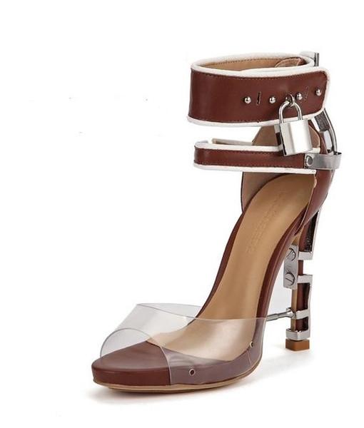 Transparent Bouche De Poisson Transparents avec Serrure En Métal Décoration Ankle Strap Femme Sandales Épaisse En Bas Stiletto-talons brun 35-43 01