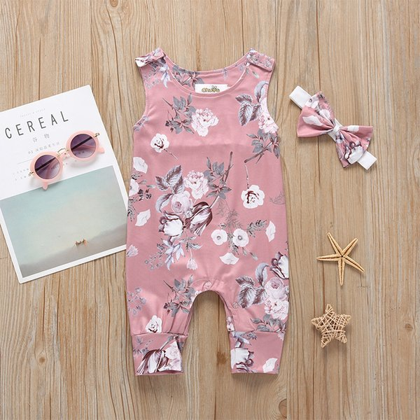 Baby Girls Floral Print Sleeveless Bodysuits 2019 Kids Boutique Clothing Euro America Hot Sale Toddlers Infant Girls Vest Rompers Bodysuits