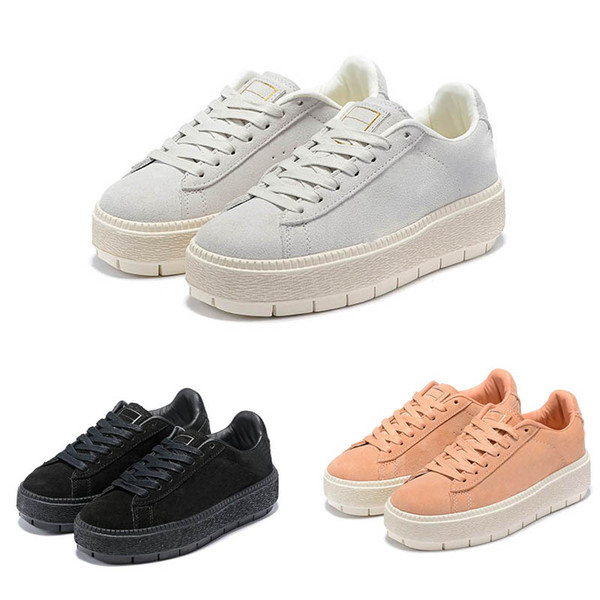 Womens Rihanna Riri Fenty Platform Creeper Velvet Pack Burgundy Black Grey Color Brand Ladies Classic Casual Shoes 36-39