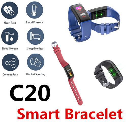 C20 Смарт Браслет Часы Bluetooth Водонепроницаемый Частота сердечных сокращений Артериальное Давление Поддержка женский цикл Отслеживания SleepFitness Здоровье обмена 50 Пакетов