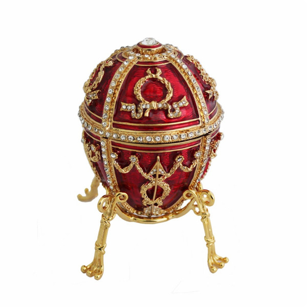 YAFFIL Jewelry Box Handcraft Red Vintage Egg Cases Rosebud Standing Box For Trinket Storage Luxury Jewellery Case Handmade