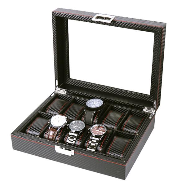 10 griglie porta scatola orologio da polso in pelle pu scatola per orologi orologi vetrina scatole di immagazzinaggio gioielli rettangolo