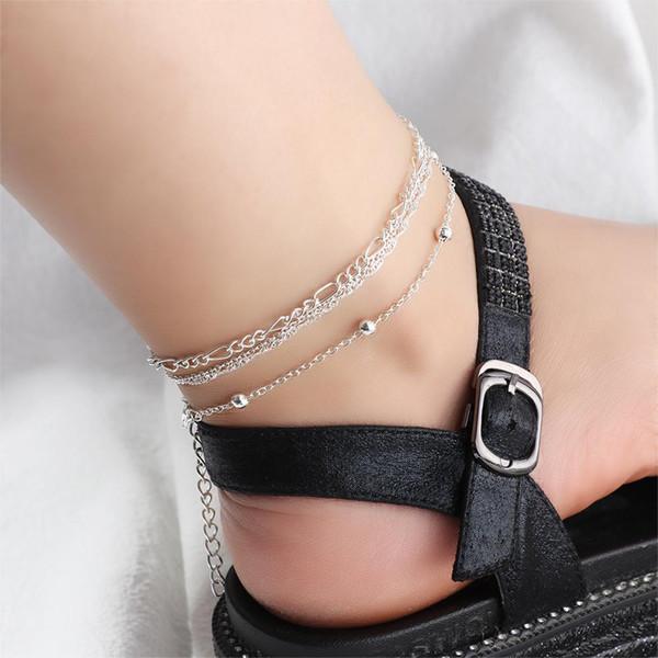 4pcs / set Vintage argent couleur lune pendentif cheville ensemble pour les femmes réglable charmant chaînes de pied multicouche cheville Tobillera cadeau