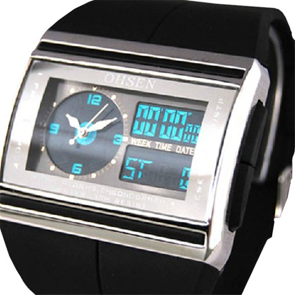 Relogio Masculino Analog Digital Watch Men LCD Back light OHSEN Brand Waterproof Man Sport Watch Quartz Fashion Wristwatch Clock