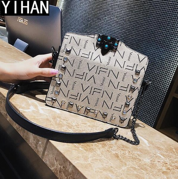 Factory brand women bag classic printed leather chain bag retro colored diamond lined shoulder bag fashion imitation old lock shoulder bags