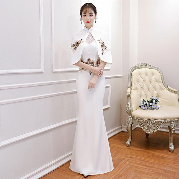 New Chinese Traditional Dress Women's Slim Cheongsam Embroidery Detachable shawl Long Qipao Evening Dresses Size XS-3XL