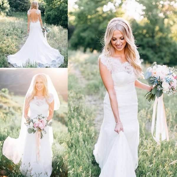Cap Sleeved Spring Country Wedding Dresses Illusion Back Lace Bridal Dresses with Court Train Custom Made Cheap Bridal Gowns