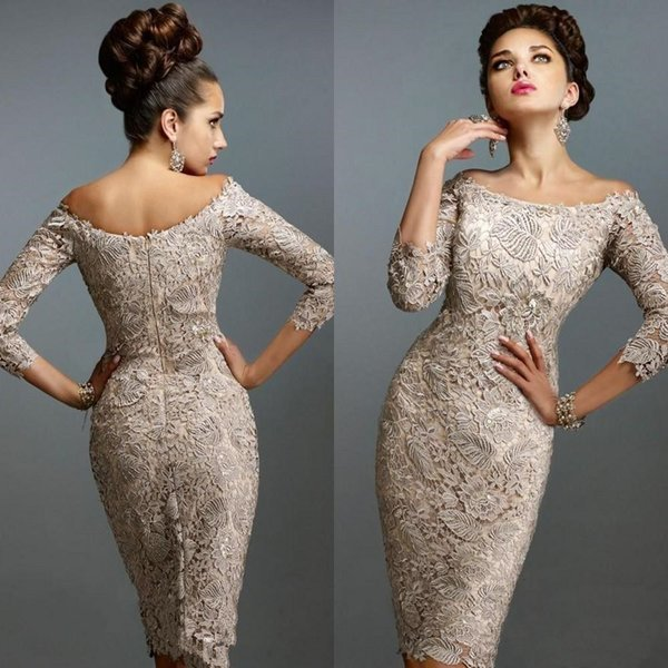 Party Off Shoulder Plus Size Lace Evening Gown Sheath Mother of the Bride Vintage Short 3/4 Long Sleeve Appliques Wedding Knee Length