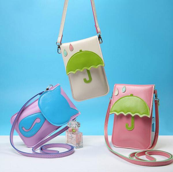 Freies Verschiffen Art und Weise neue Handtaschen Qualität PU-Leder Frauen Beutel Touchscreen Mini quadratische Tasche Phone Purse Katze Regenschirm