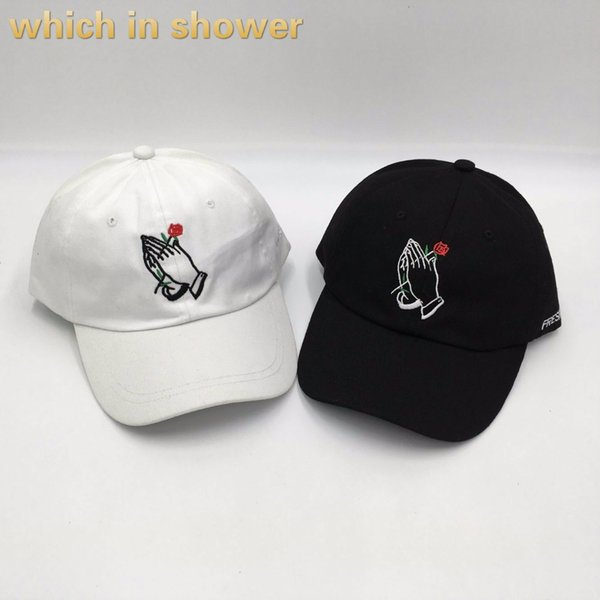 which in shower brand rose in hand embroidery dad hat women men slouch cotton baseball cap k pop curved lover snapback hat